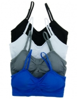 2 or 4 PACK: Seamless Removable Strap Bras (One Size, 4 Pack: Black/Charcoal/Olympic/White)
