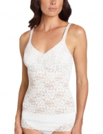 Bali Women's Lace And Smooth Camisole Top, White, Large