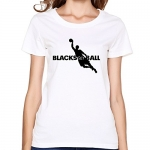 FQY Women's BasketBall Cotton Round Collar T Shirt M White