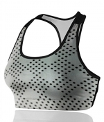 Women's Seamless Sports Bra Padded Stretch Yoga Workout Fitness - Simple Cyan New Geo Spots Diamond Pattern