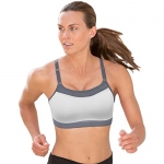 Champion Women's Show-Off Sports Bra, White/Medium Gray, Medium