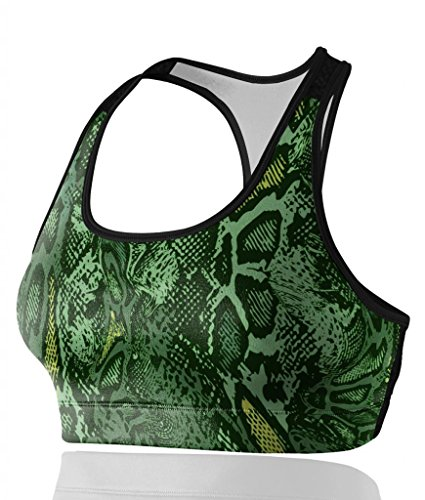 Women's Great Comfort Sports Bra Fashion Green Serpentine ...